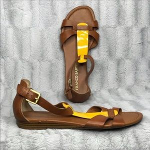 Franco Sarto Gracy Brown Yellow Leather Sandals